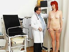 redhead granny pussy gaped at the doc