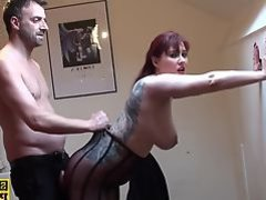 Busty british redhead dominated with roughsex